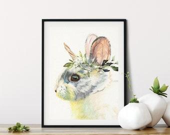 UNICORN bunny Art, Mythical Woodland rabbit watercolor painting print, Wall Art, home decor, Redstreake