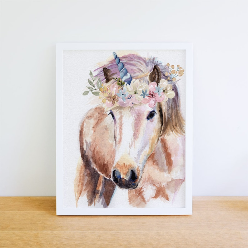 8 x 10 inch UNICORN Art Print UNICORN watercolor painting image 0