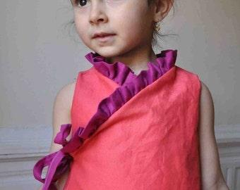 Instant download -pdf pattern -Ruffled kimono dress - 12m up to 4T-