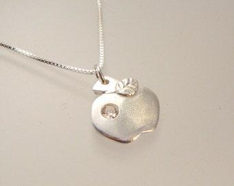 Teacher's Pet - Fine silver apple pendant