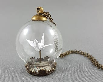 Origami Crane Necklace,Terrarium Jewelry,Paper Crane Necklace,First Anniversary Gift,Paper Anniversary,Origami Wedding,Crane Pendant,Tsuru
