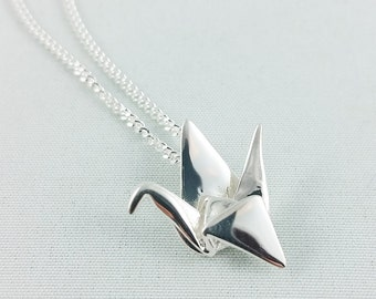 3D Printed Silver Origami Crane Necklace,Origami Crane Pendant,First Anniversary Gift,Paper Anniversary,3D Printed Jewelry, Sterling Silver