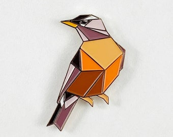American Robin Enamel Pin,Enamel Pin,Robin Pin,American Robin,Origami Bird,Bird Lover,Bird Pins,Bird Gifts,Bird Jewelry,Birds,Bird Gifts