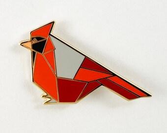 Cardinal Enamel Pin,Bird Enamel Pin,Origami Jewelry,Cardinal Pin,Cardinal Bird,Origami Bird,Bird Lover,Bird Gift,Bird Pins,Bird watcher gift