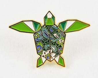 Origami Sea Turtle Soft Enamel Pin,Enamel Pin,Origami Jewelry,Turtle Gift,Turtle Lover,Origami,Lapel Pin,OOAK,Tortuga,Sea Turtle Jewelry