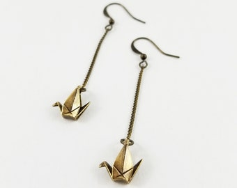RESERVED FOR CAROLINE: First Anniversary Gift,Origami Crane Earrings,Paper Crane Jewellery