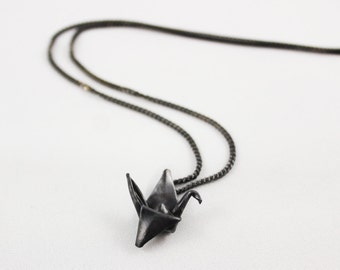 Black Silver Origami Crane Necklace, Origami Jewelry, Origami Paper Crane Pendant, Lucky Necklace, Paper Crane on Italian Sterling Chain
