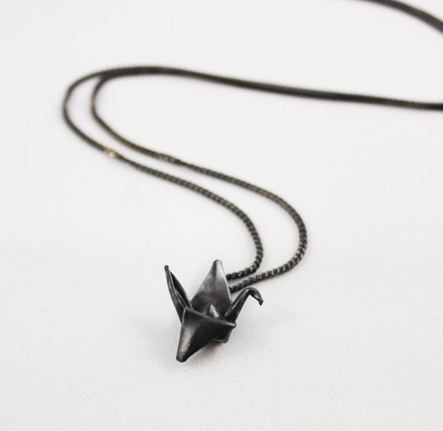 Black Silver Origami Crane Necklace Origami Jewelry ... - photo#25