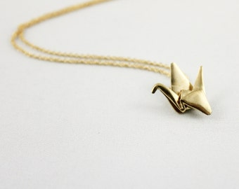 Paper Crane Necklace,Origami Crane Necklace,Paper Crane Jewellery,Paper Crane Pendant,First Anniversary Gift,Gold Origami Crane Necklace