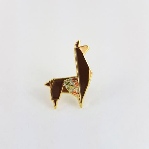 Origami Llama Soft Enamel Pinenamel Pinorigami Jewelryllama Etsy