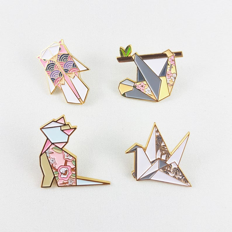 Any 4 Origami Soft Enamel Pin CollectionEnamel Pin image 0