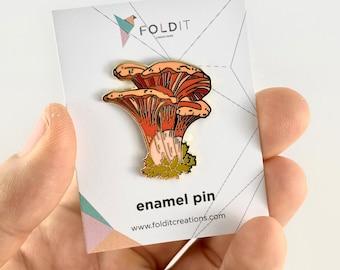 Cinnabar Chanterelle Mushroom Hard Enamel Pin,Mushroom Enamel Pin,Cantharellus Cibarius,Mushroom Gifts,Mushroom Art,Science Art,Mushrooms