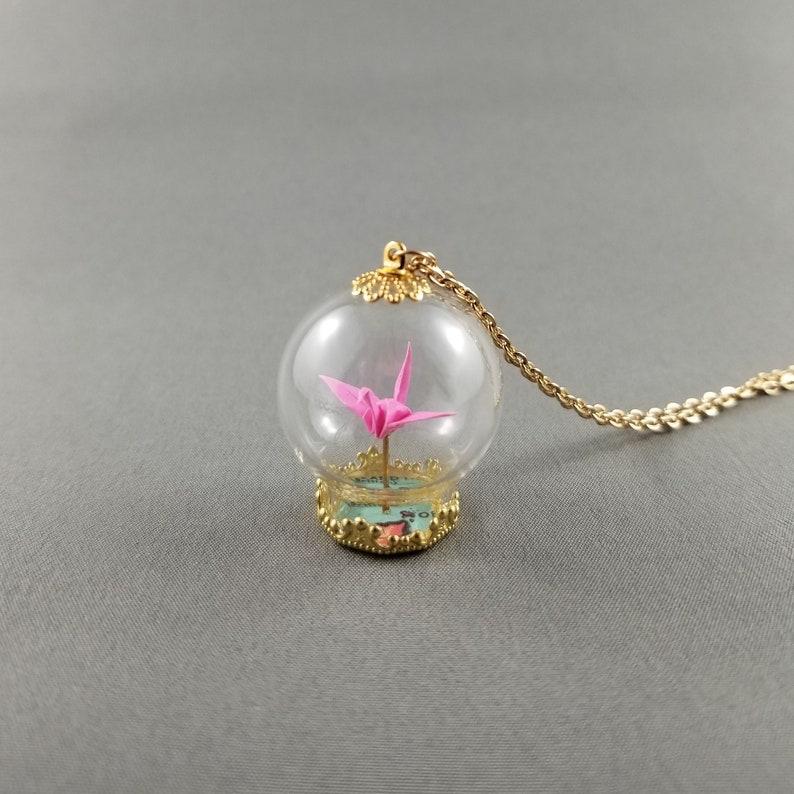 Pink Origami Crane NecklaceTerrarium JewelryPaper Crane image 0