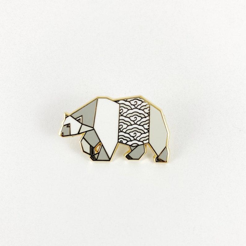 Origami Polar Bear Enamel PinBear Enamel PinBear PinsBear image 0