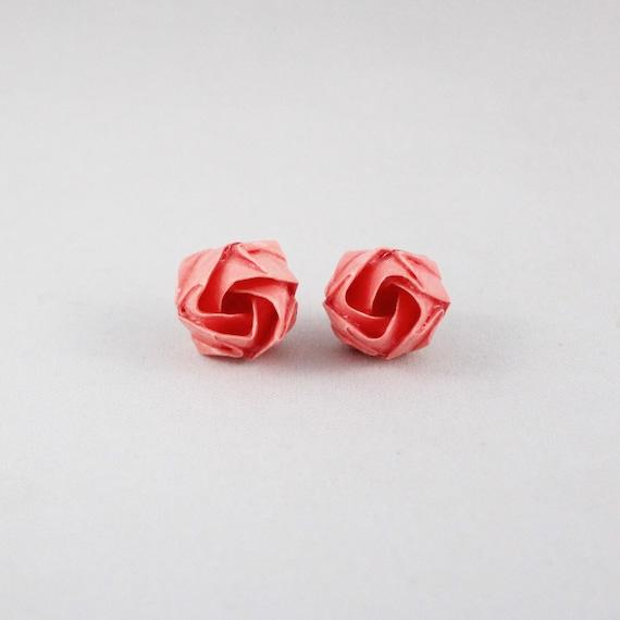 Origami Flower Stud Earringspaper Anniversary Giftcute Etsy