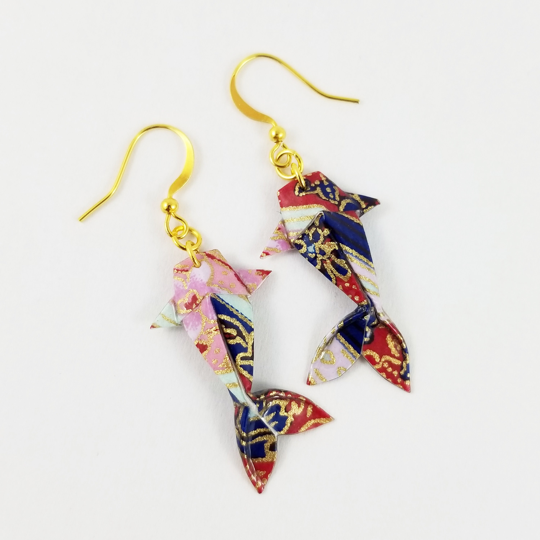 Origami koi carp earrings