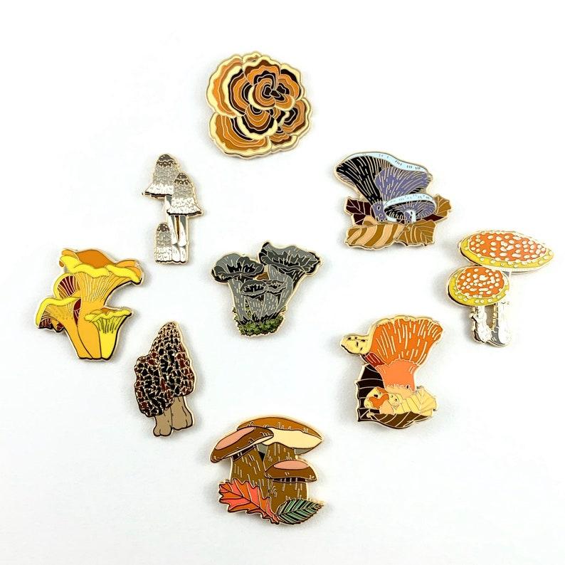 Any 4 Mushroom Hard Enamel PinsMushroom Enamel PinMorel image 0