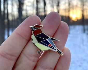 Cedar Waxwing Enamel Pin,Bird Enamel Pin,Origami Jewelry,Cedar Waxwing pin,Bird Lover,Bird Gift,Bird Pins,Bird watcher gifts,Bird gifts,bird