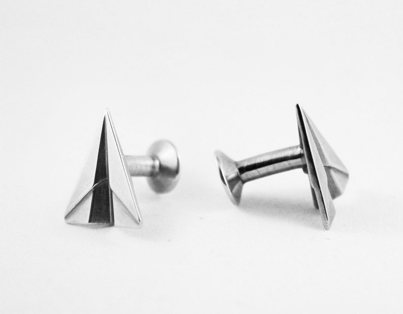 Silver Paper Airplane CufflinksPaper Anniversary Gift for image 0