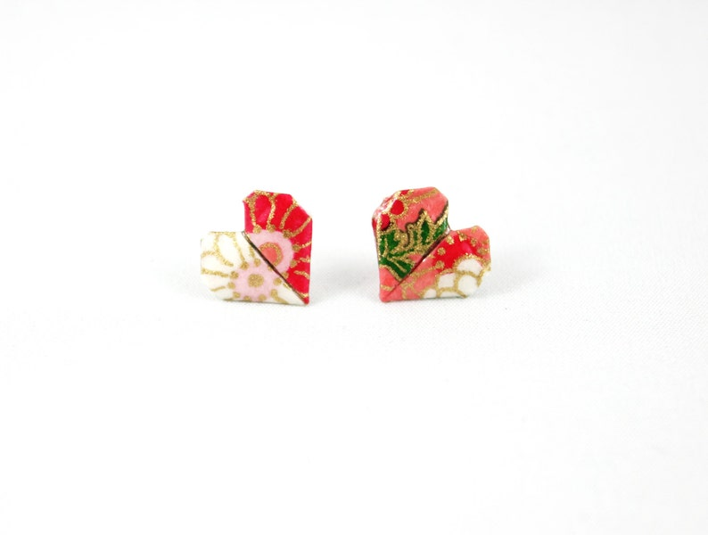 Pink Red and White Origami Heart Post/ Stud Earrings image 0