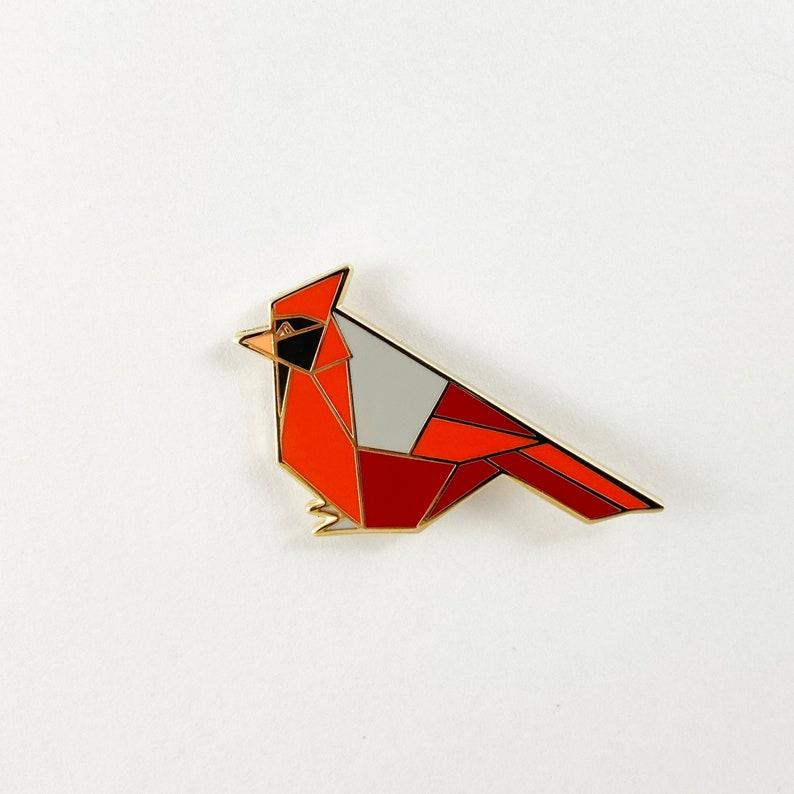Cardinal Enamel PinBird Enamel PinOrigami JewelryCardinal image 0