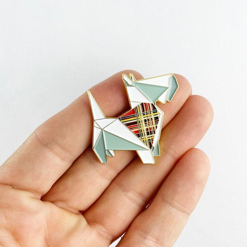 Scottish Terrier Enamel PinEnamel PinOrigami JewelryDog image 0