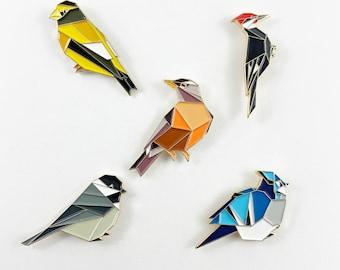 North American Birds Enamel Pin Set,Bird Enamel Pin,Chickadee Pin,Origami Bird,Bird Lover,Bird Gift,Bird Jewelry,Blue Jay,Bird Watcher Gift