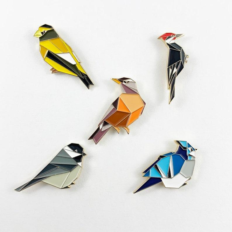North American Birds Enamel Pin SetBird Enamel PinChickadee image 0
