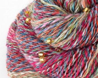 Handspun Yarn, Vegan Faux Cashmere Beaded Yarn - 1.7oz, 180yd, WPI 20,