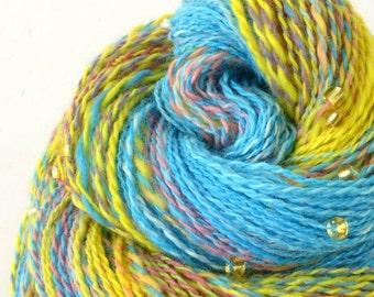 Handspun Yarn, Vegan Faux Cashmere Beaded Yarn - 1.75oz, 220yd, WPI 22,