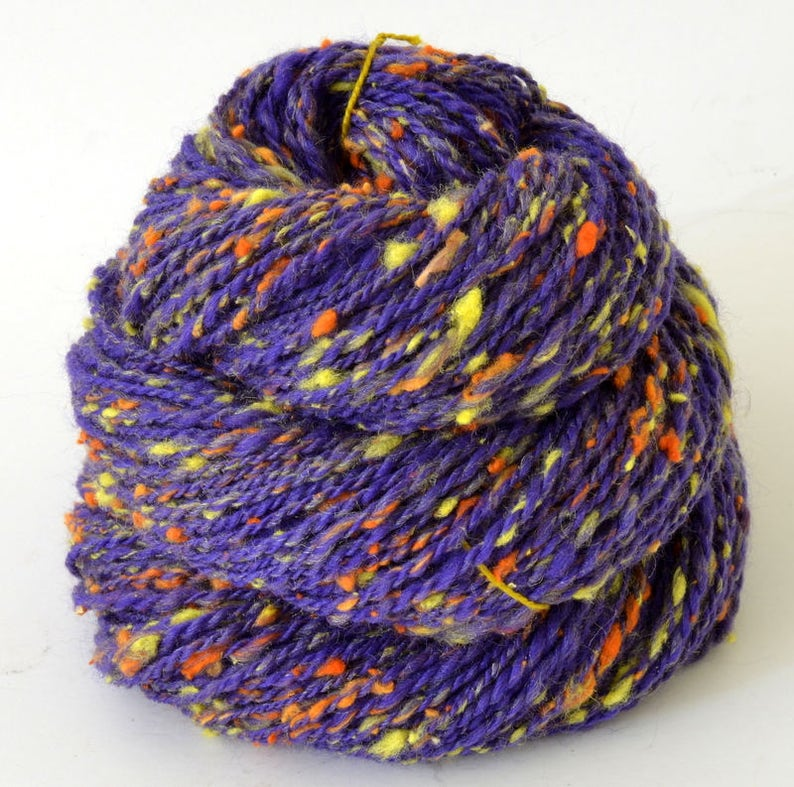 128yd 16WPI Handspun Yarn Sport Art Yarn- 1.5oz Hand Spun Tweed Silk  Merino Yarn