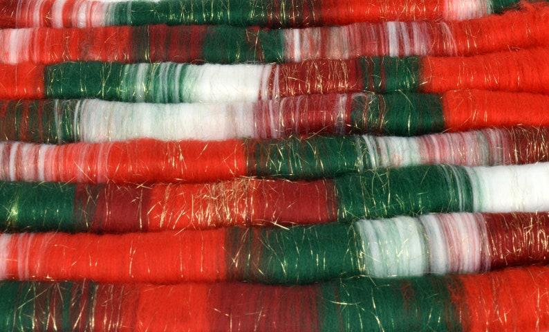 100 grams Hand Blended BFLMerino Shetland Rolags for Spinning Christmas Rolags