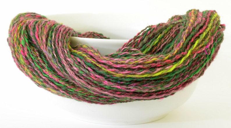 180yd 18WPI Art Yarn- 1.5oz Hand Spun Silk and Merino Yarn Handspun Yarn