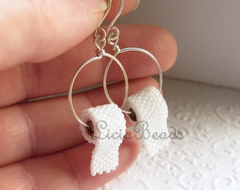 Toilet Paper earrings with sterling silver or brass and handmade ear hooks