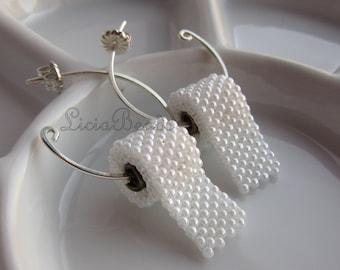 Handmade beaded Toilet Paper earrings in sterling, brass or 14k gold filled