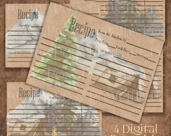 Christmas Recipe Cards, Mountains, 4x6 Printable Recipe Cards, Vintage Style, 4 Country Recipe Card Set, Mountains, Snow,Instant Download
