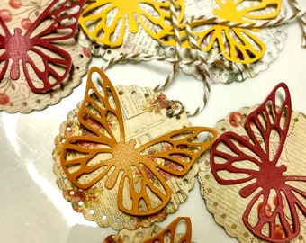 Scalloped Butterfly Tags Set of 6, Thank You, Party Tags, Gift Tags