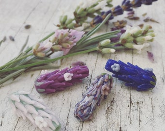 Lavender Glass Bead in Bloom Set of Four