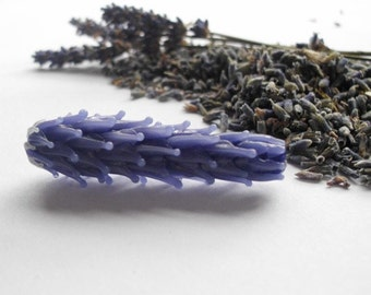 Lavender Glass Bead Large Size in Periwinkle with Dried Lavender Sachet Buds & Flowers