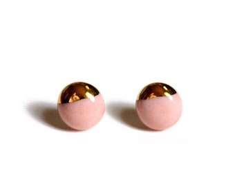 22k Gold Dipped Studs - Coral Pink Stud Earrings, 14k gold filled posts, Sensitive Ears - Beach Jewelry Stud Earrings, Bridesmaid Gift