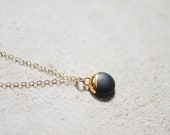 Black and Gold Dipped Buoy Charm - Matte Black Dipped Necklace, Bridesmaids Gifts, Porcelain Jewelry, Porcelain and Stone, Black Jewelry