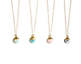 22k Gold Dipped Buoy Charm - Aqua Turquoise Mint Pink Marble Dipped Necklace, Bridesmaids Gifts, Porcelain Jewelry, Porcelain and Stone