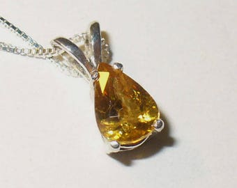 Sphene Titanite Pendant Necklace in Sterling - Genuine Natural Gemstone with Beautiful Fiery Dispersion