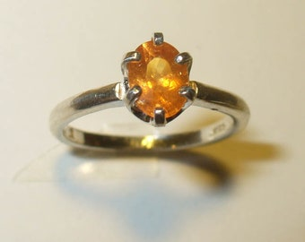 Mandarin Orange Spessartite Garnet Ring in Solid Sterling Silver - Genuine, Natural Gemstone