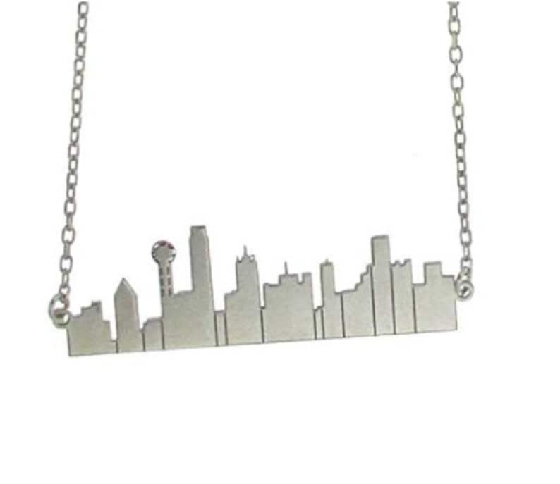 Silver City Scape Sillouhette Necklace and Chain-Dallas Texas image 0