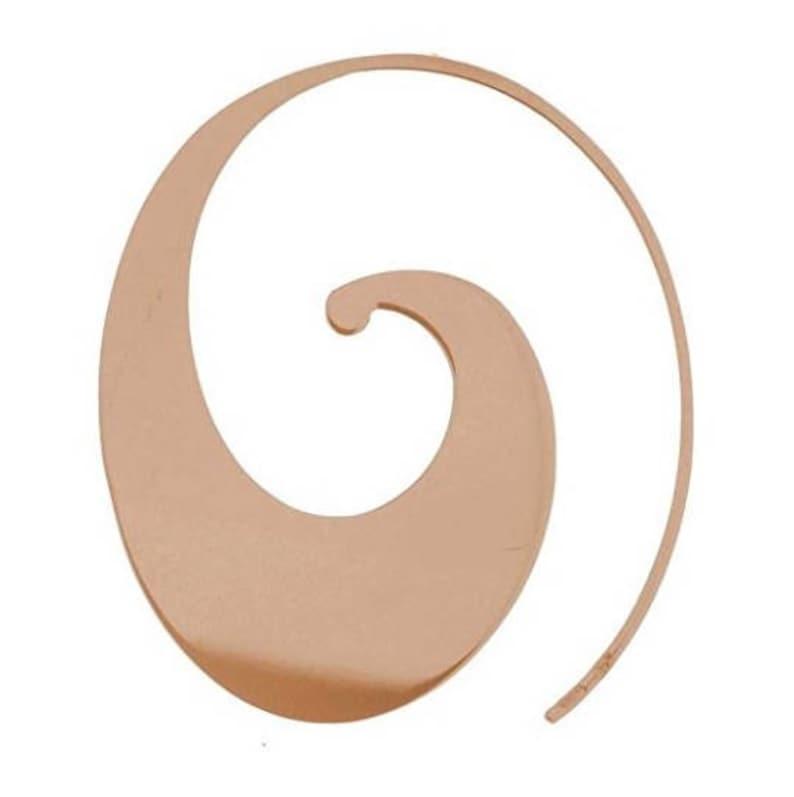 50% Off Sterling Silver Wave Slide on Hoop Earrings-Rose Gold image 0