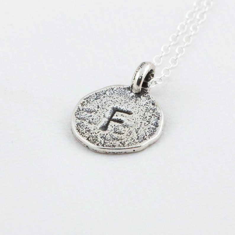 Initial F Handstamped Sterling Silver Pendant and Necklace  image 0