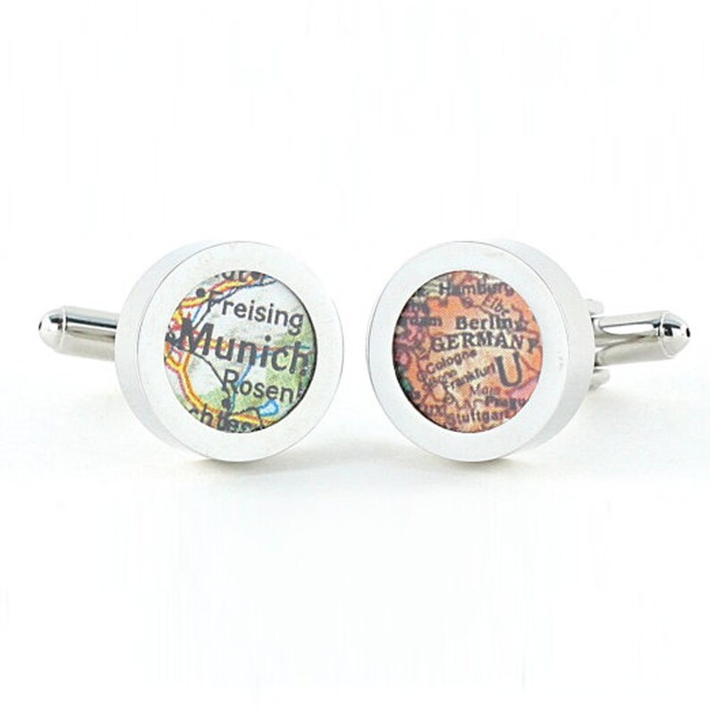 Munich Germany Vintage Map Chrome Cufflinks with Gift Box image 0