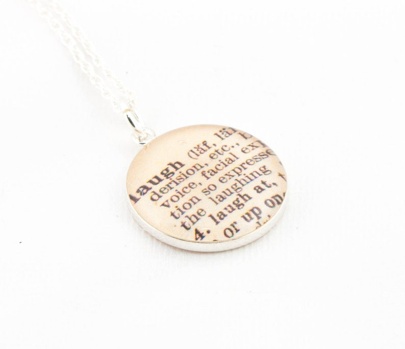 Sterling Silver Definition of LAUGH Pendant and Necklace  image 0