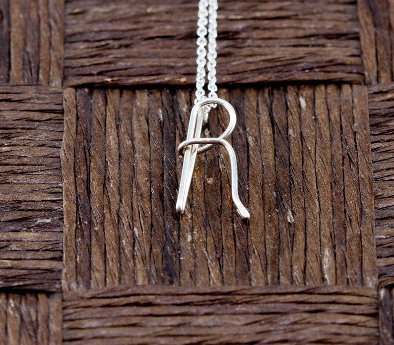 Sterling Silver Wire Wrapped Initial Pendant and Necklace  image 0